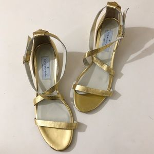 Rosemunde Copenhagen Criss Cross Gold Sandals